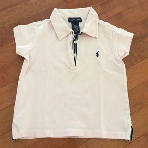 Ralph Lauren light pink polo shirt. Kid size 5